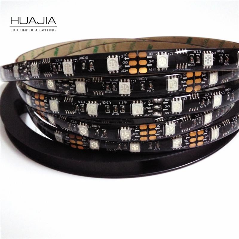 5 M Ws2811 Tira Conduzida Dc12V 30/48/60 Leds/m Rgb Addressble Led Strip Black & Pcb Branco Ip30/ip65/ip67 Smd5050 Tiras De Pixels