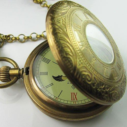Antigo Antique Duplo Capa Tourbillon Moonphase Pocket Watch