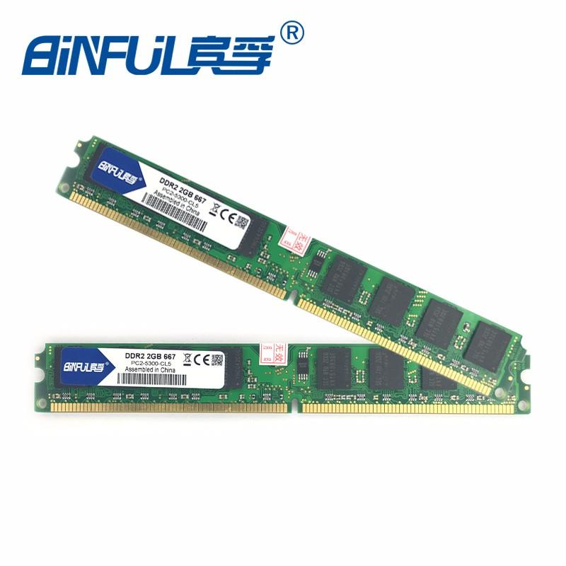 Binful Original Nova Marca Ddr2 667 Mhz De 4 Gb (Kit De 2,2 Pcs 2 Gb Para Dual Channel) Pc2-5300 Memória Ram Dimm 240Pin Desktop Do Computador