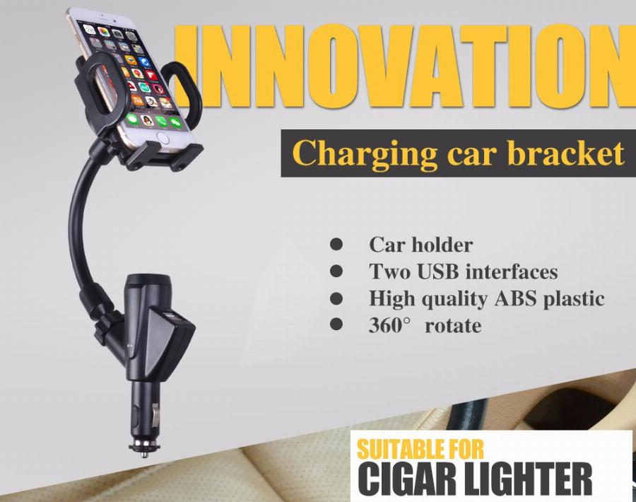 Cobao Universal Dual Usb Car Charger Mount Suporte Suporte Do Telefone Móvel Celular Stands Para O Iphone 5 Plus 6 Galaxy Nota 2 3 S4 S5 Gps