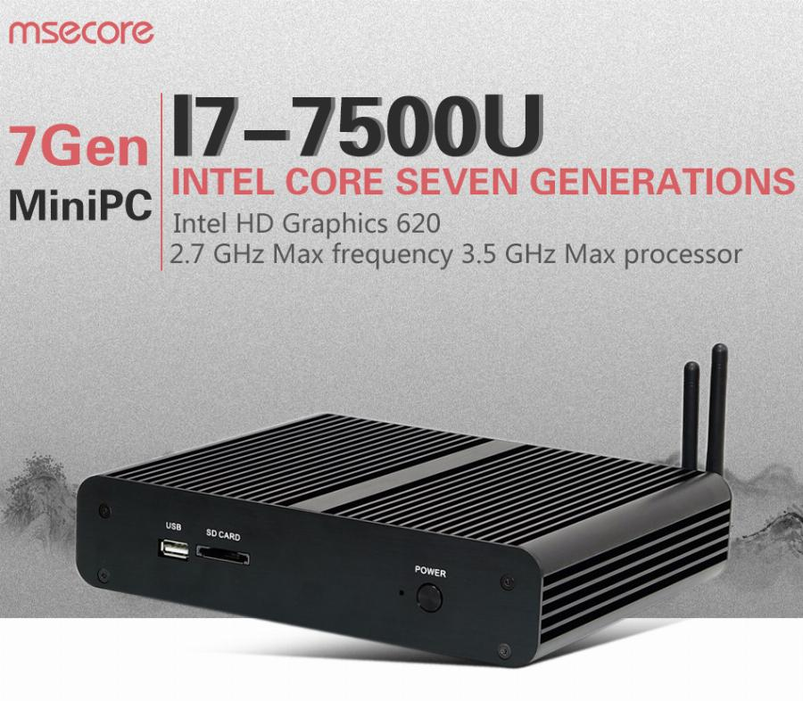 Fanless Intel I7 7500U Mini Pc Windows 10 Computador Desktop Vara Pc Nuc Sistema Barebone Nettop Kabylake Hd620 Gráficos 300 M Wi-Fi