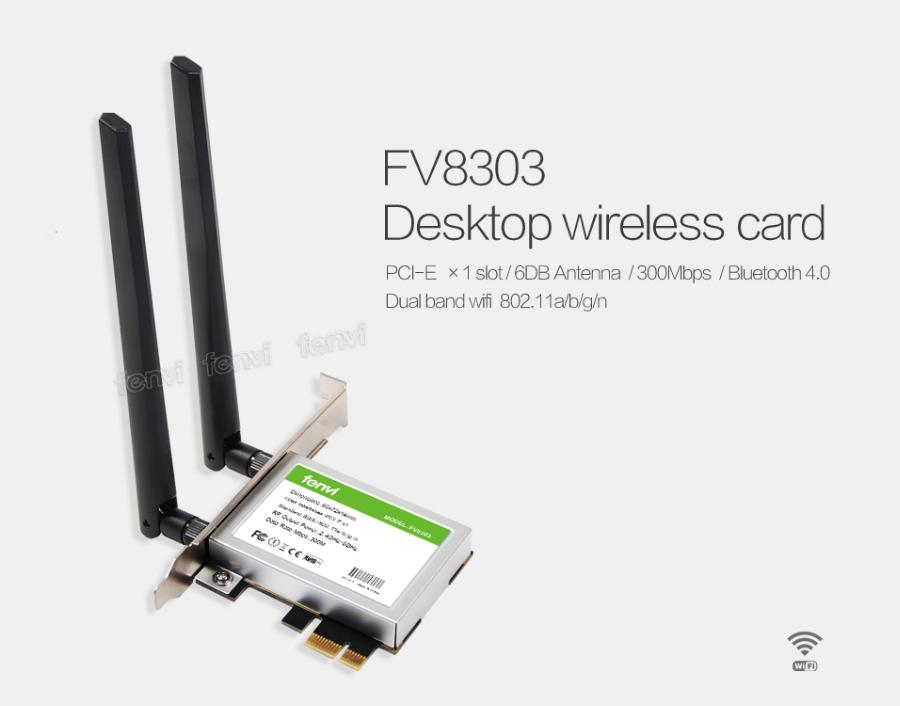 Fenvi Fv8303 300 Mbps De Desktop Dual Band Wireless-N Ar5Bwb222 Wifi Bt Bluetooth 4.0 802.11 A/b/g/n Pci-Express 1X/4X/16X Adaptador
