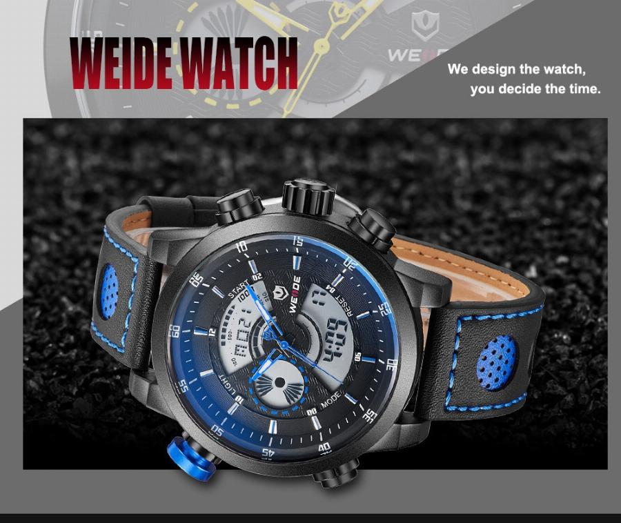 Nova Venda Weide Marca Bule Cor Display Analógico Digital Impermeável Alarme Back Light Men Quartz Militar Assista Relogio Masculino