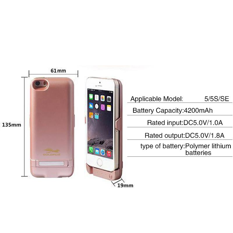 Para O Iphone 5 5S Se Telefone Inteligente 4200 Mah Bateria Recarregável Externa De Backup Charger Case Capa Power Pack Banco Para O Iphone 5 5S