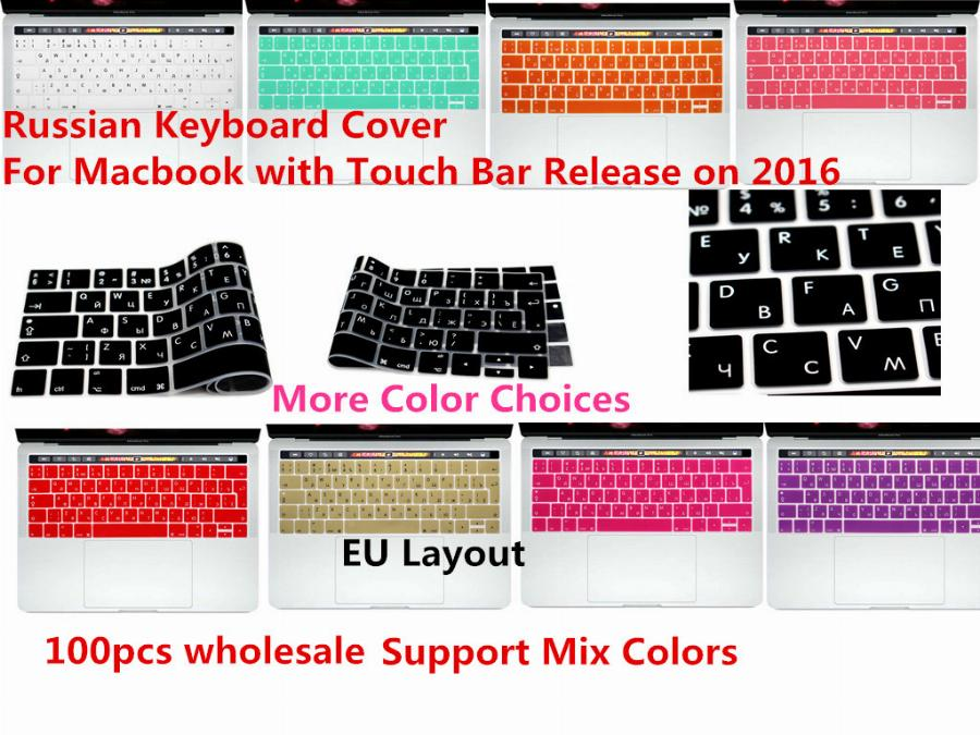 "Sua Alteza Real 100 Pcs Eu/uk Russa Silicone Keyboard Cover Pele Para Macbook Pro 13 ""a1706 Pro 15"" A1707 Com Barra De Toque Release 2016"