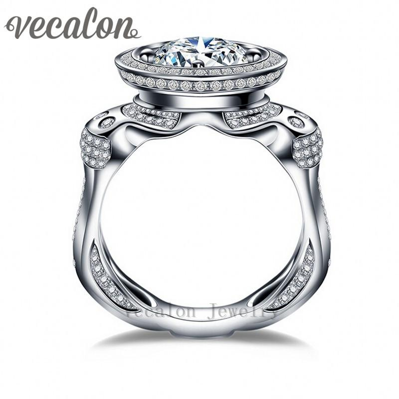 Vecalon Luxo Zircon Engagement Ring Wedding Band Para Homens 3Ct 5A 220 Pcs Pequeno Cz 925 Sterling Silver Partido Masculino Anel