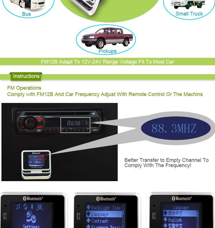Fm12B Do Bluetooth Carro Mp3 Player Transmissor Fm Sem Fio Tela Lcd Kit Car Com Carregador Usb Apoio Tf Cartão & Line-In Aux