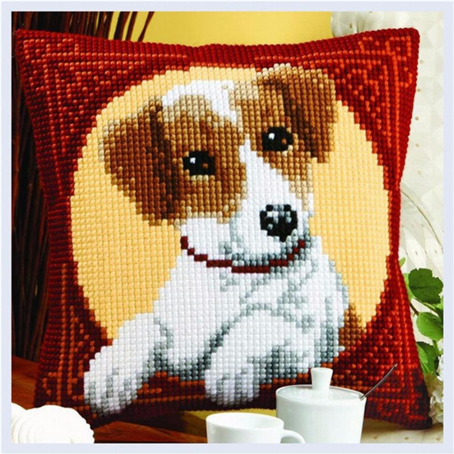 Cão Do Ponto Da Cruz Travesseiro Mat Diy Craft 42 Cm Por 42 Cm Trava Kit Gancho Needlework Almofada De Crochê Bordado