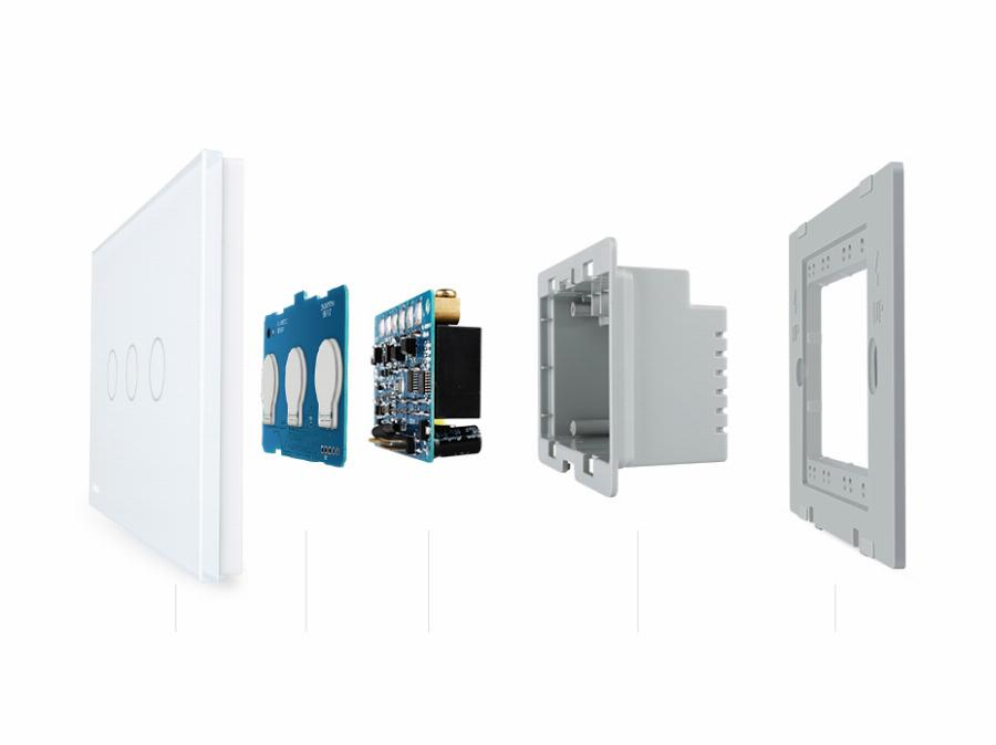 Livolo Au/eua Standardtouch Switch, Vl-C903S-11, Painel De Vidro Cristal Branco, 3-Gang 2-Way Light Touch Controle Do Interruptor