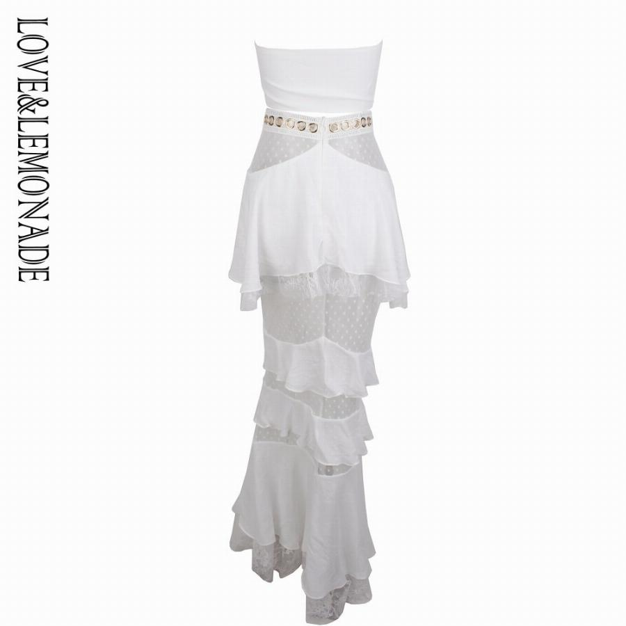 Amor & Limonada Branco Correias Tops Tubo De Metal Lace Lace Two-Pieces Define Lm0883