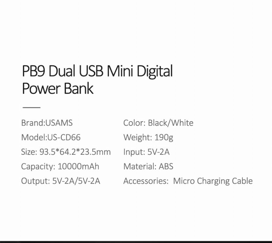 Banco De Potência Para Xiaomi Mi Mi Ni Usams Iphone Poverbank Pover Banco 10000 Mah Display Led Powerbank Bateria Externa De Carregamento Rápido