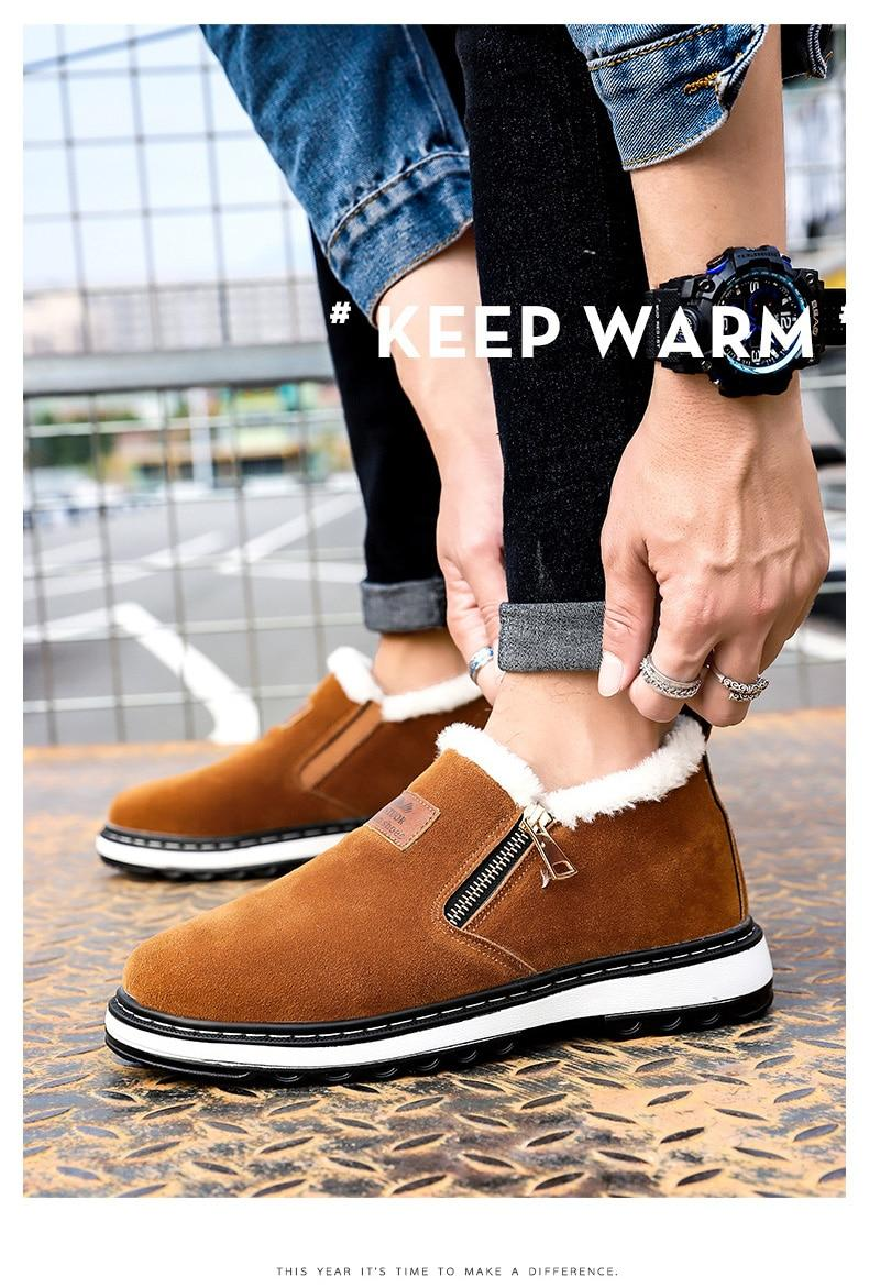 Black Men Fashion Designer Boots Winter Shoes Warm Men Plush Short Fur Boots Men Casual 2018 New Keep Warm Male Winter Boots