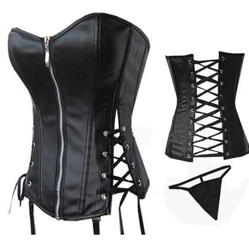 Collants Por Atacado Zipper Faux Leather Wetlook Bustier Oco Mulheres Cintura Shaper Corsets Plus Size S-6Xl Corset Para Desgaste Do Clube