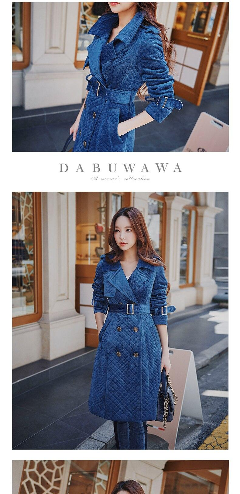 Dabuwawa Mulheres New Elegante Magro Moto Sytle Quente Trench Blusão Double Breasted Long Coat Outwear D18Ctc022
