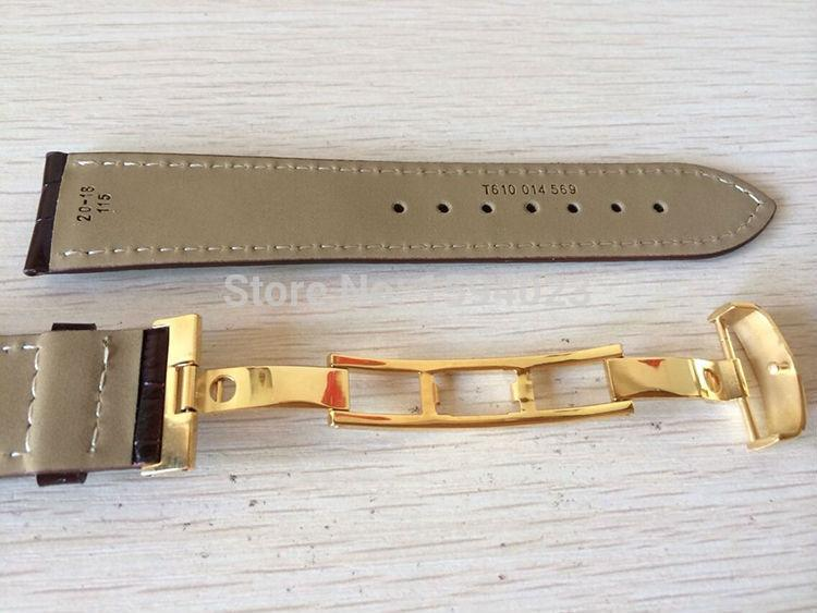 20Mm (Buckle18Mm) T019430 Alta Qualidade Banhado A Ouro Pin Fivela + Brown Genuine Leather Assista Bandas Strap