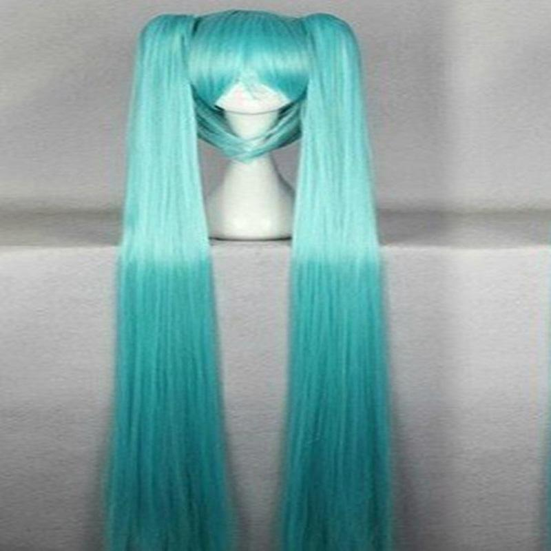Hairjoy Verde Synthetic Partido Peruca Cosplay Com 2 Clip On Rabo De Cavalo Cabelo Miku