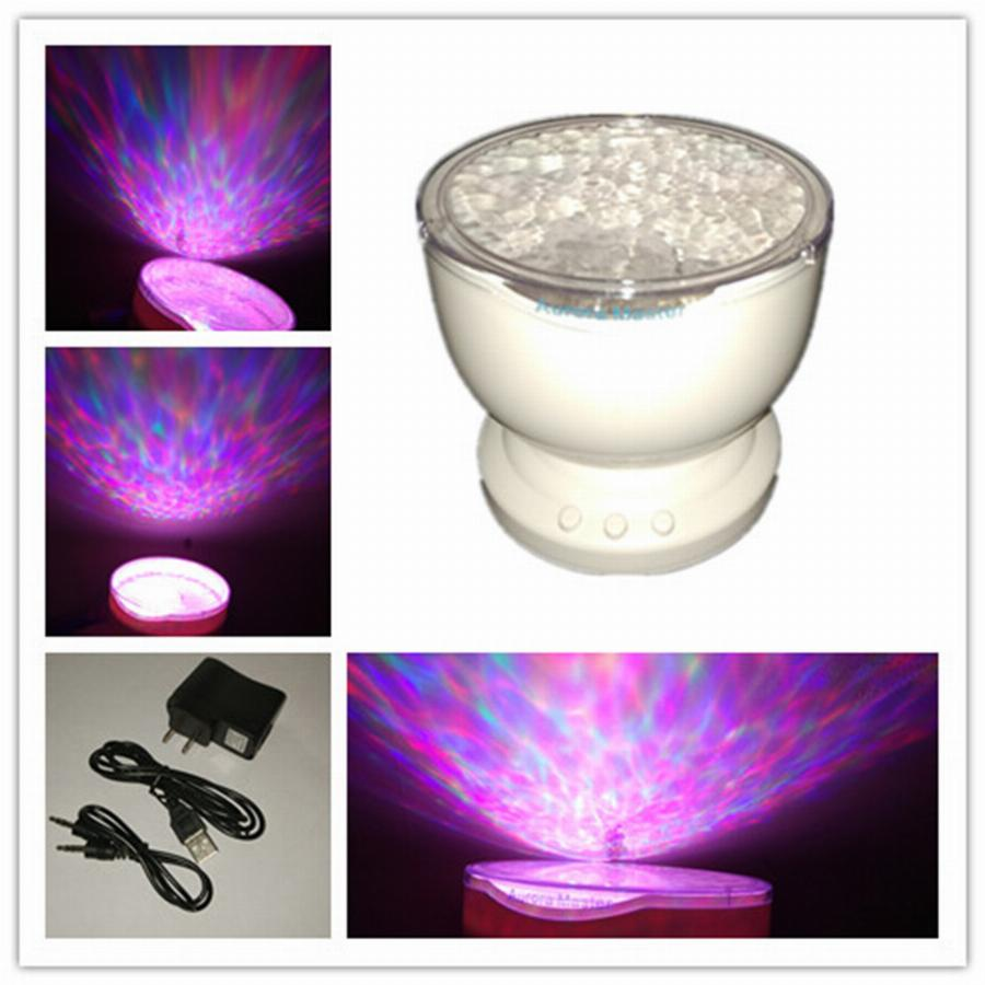 Incrível Romântico Aurora Mestre Projector Colorido Onda Led Relaxing Ocean Projetor Pote Com Speaker Us-Plug Power Adapter Luces
