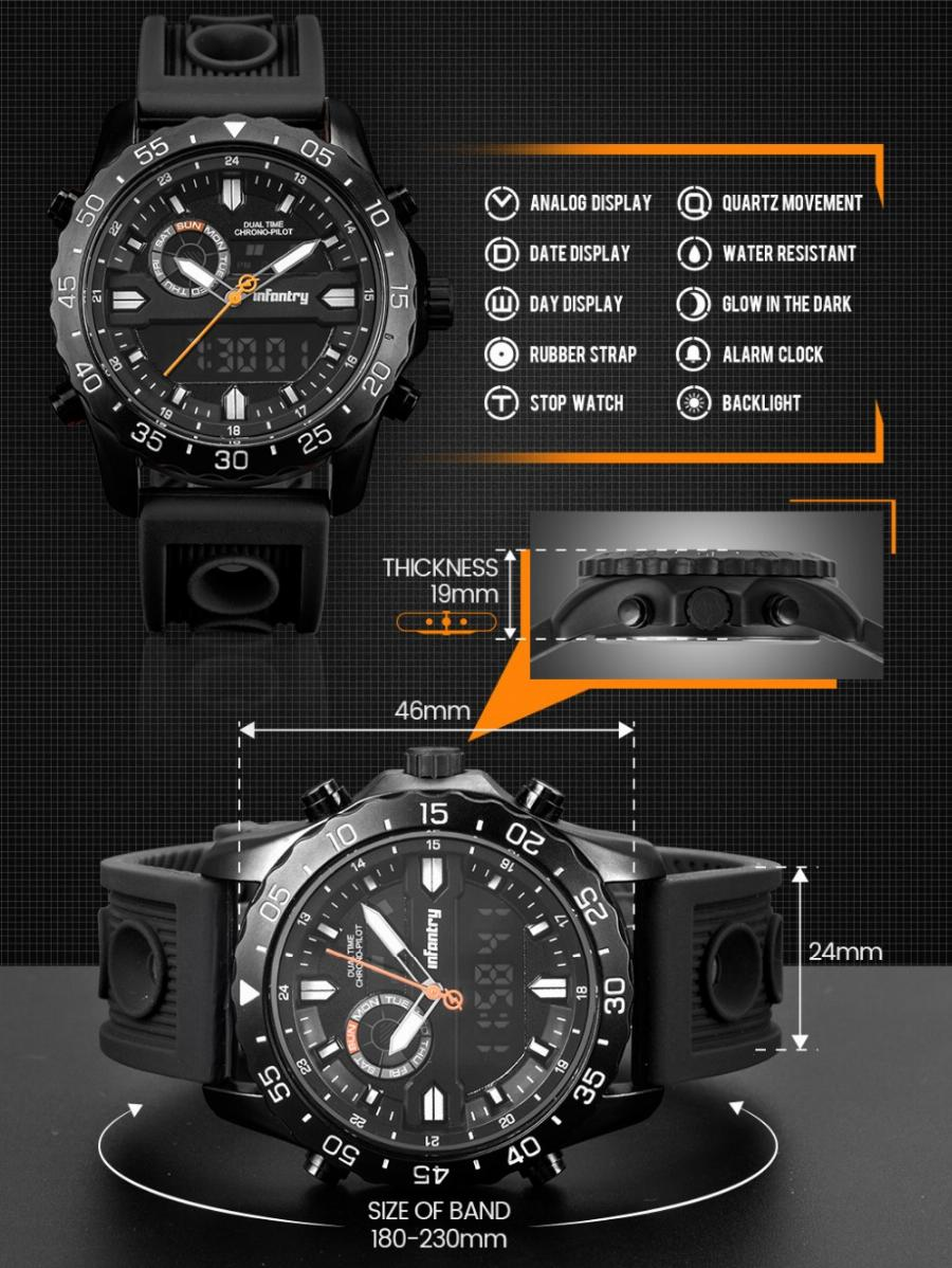 5ae431301f0 Infantaria Militar Assista Men Digital Led Relógio De Pulso Mens Relógios  Top Marca Tactical Esporte Luminosa ...