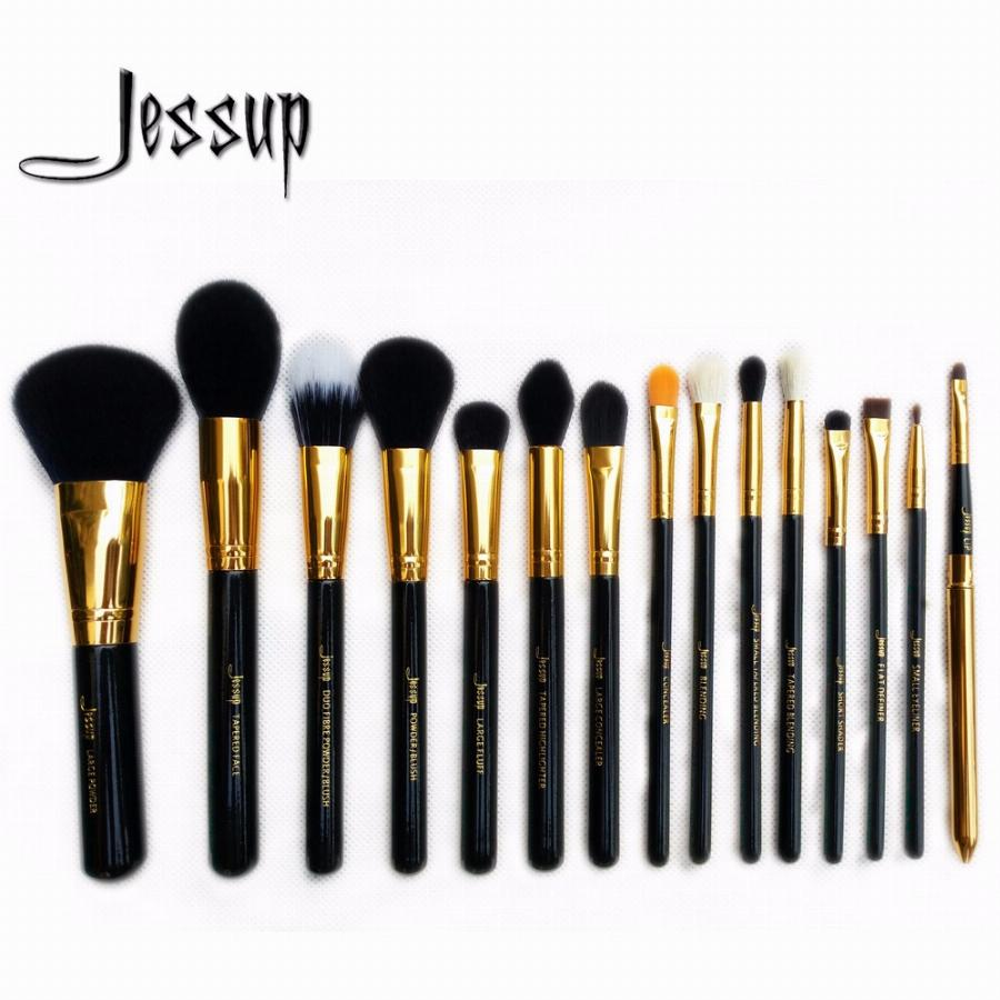 Jessup Pro 15 Pcs Makeup Brushes Set Pó Foundation Eyeshadow Corretivo Delineador Lip Brush Tool Preto/ouro