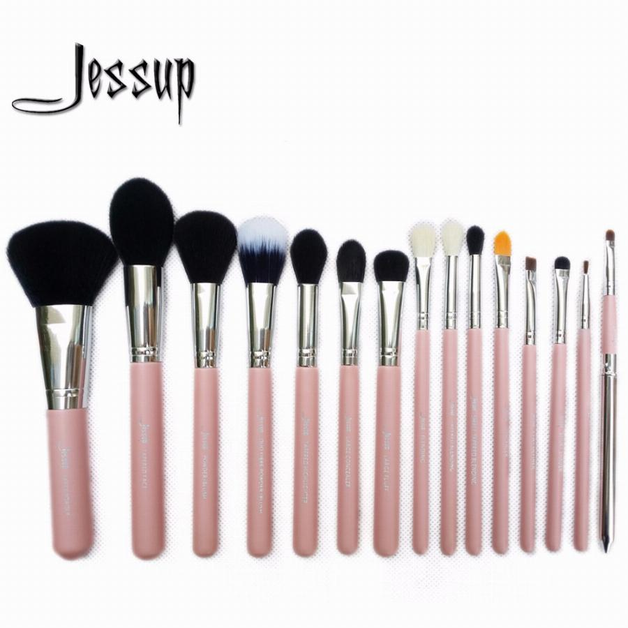 Jessup Pro 15 Pcs Makeup Brushes Set Pó Foundation Eyeshadow Corretivo Delineador Lip Brush Tool Rosa/prata
