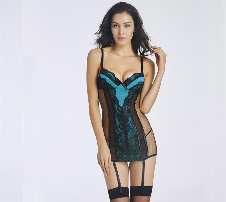 6000a3691 Mulheres Floral Lace Chemise Lingerie Sexy Hot Erotic Lingerie See-Through  Deslizamento Vestido Deep-V Mini-Vestido Sleepwear
