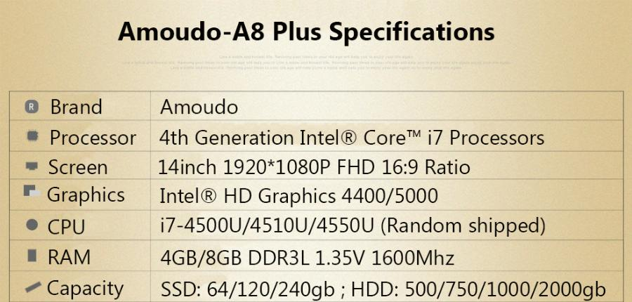 Amoudo-6C Plus 14 Polegada Intel Core I7 Cpu 8 Gb + 64 Gb + 500 Gb Dual Discos Sistema Windows 7/10 1920X1080 P Fhd Laptop Computador Notebook