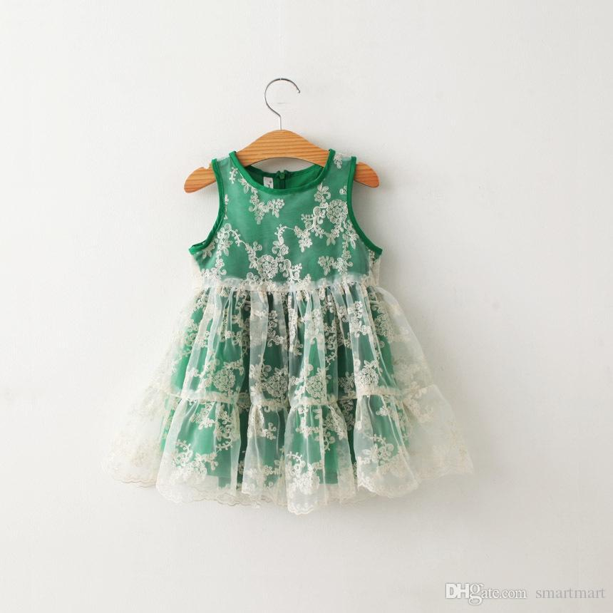 Everweekend Novas Crianças Meninas Rendas Bordar Dress Princesa Mangas Summer Party Dress Bege Verde E Cor Branca Casual Dress