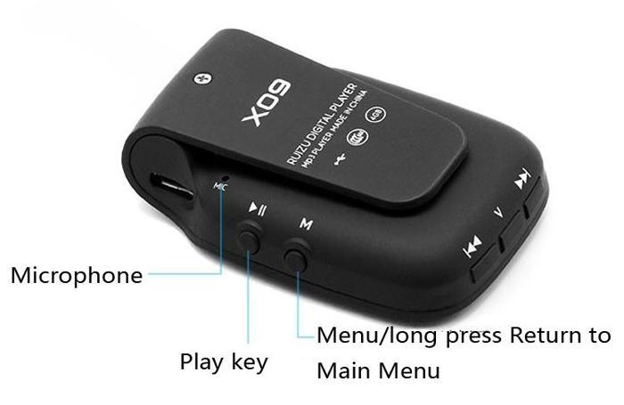 Original Ruizu X09 Esporte Mini Clipe Mp3 Player Com 4 Gb De Armazenamento De 1.5 Polegada Walkman Mp3 Player De Música Com Fm, E-Book