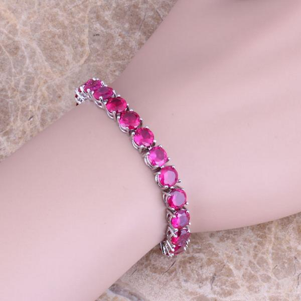 Silky Red Cubic Zirconia 925 Sterling Silver Chain Link Pulseira 7 Polegada Para As Mulheres S0271