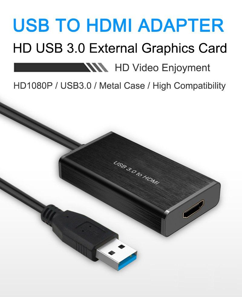 Usb 3.0 Para Hdmi Adaptador De Vídeo 1080 P De Metal Shell Usb3.0 De Sincronização Av Para Hdmi Placa Gráfica Externa Para Pc Monitor De Tv Projetor