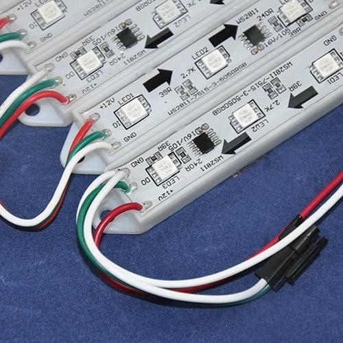 200 Pcs Ws2811 2811 Ic, 3Led / Pcs 5050 Rgb Led Pixel Módulo Digital Luz Cordas Waterproof Dc12V