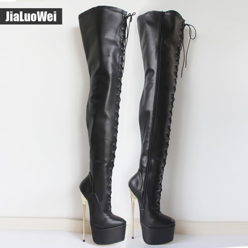 Jialuowei 2017 Novo 22 Cm Ultra High Ouro Metal Salto Fino Sexy Fetiche Over The Knee Mulheres Lace-Up Partido Plataforma Coxa Botas Longas