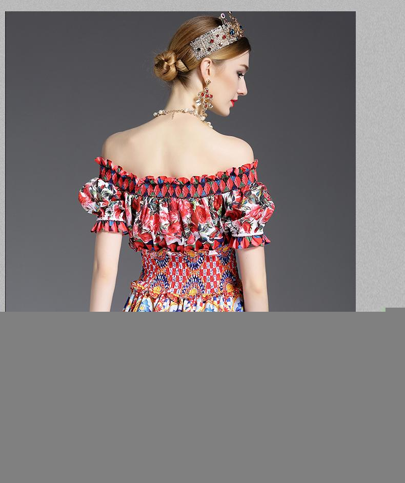 New Fashion 2017 Runway Designer Dress Off The Shoulder Barra Neck Charme Das Mulheres Do Verão Sexy Rosa Floral Impresso Curto Dress