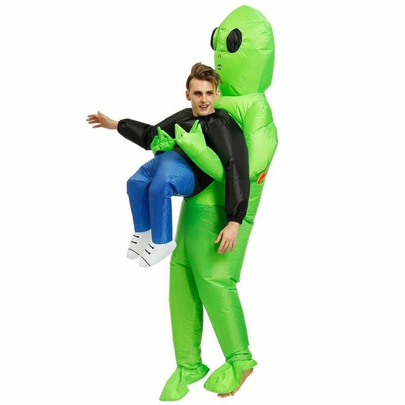 Rantion Halloween Traje Monstro Inflável Adulto Verde Alienígena Carregando Cosplay Humano