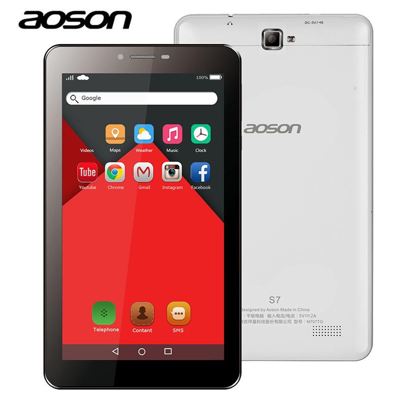 S7 7 Polegada Aoson Cartão Dual Sim 3G Phone Call Tablets Pc Android 5.1 Ips 1024*600 Quad Core 8 Gb Rom Gps Wifi Câmera De 5Mp Phablet