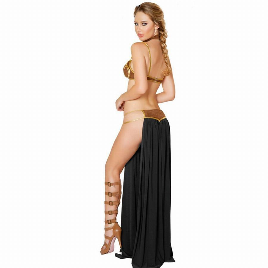 Star Wars Cosplay Sexy Princesa Leia Escravo Dress Costume Halloween Costume L15366