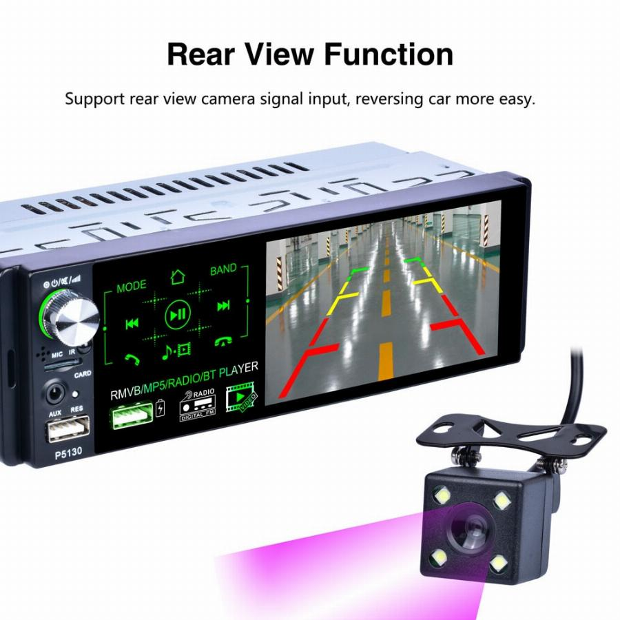 "Podofo Rds Auto-Rádios 4.1 ""multimídia Touch Screen Mp5 Player De Rádio Auto Estéreo Bluetooth Apoio Micophone E Retrovisor Câmera"