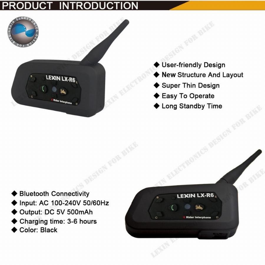 2 Pcs Lexin R6 1200 M Motocicleta Bt Intercomunicador Sem Fio Fones De Ouvido Bluetooth Capacete Intercom Para 6 Riders Interphone Mp3