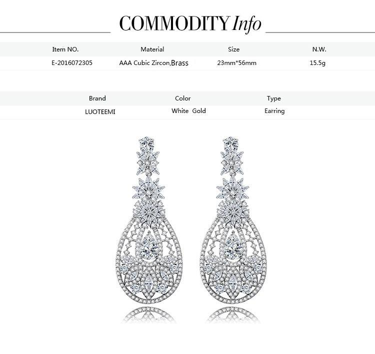 Luoteemi  Luxury Paving Cubic Zirconia Dangle Earrings Brincos For Women Bridal Silver-Color-Color Wedding Jewelry