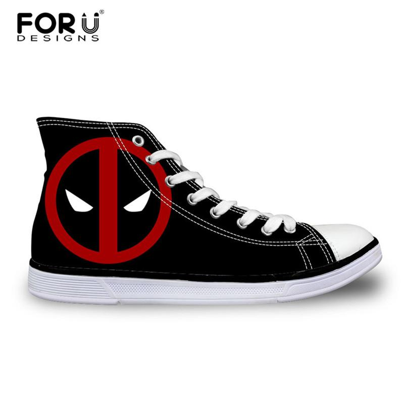 Forudesigns Hot Mens High Top Sapatas De Lona Clássicas Homens Lace-Up Sapatos Vulcanizados Legal Super Hero Deadpool Impresso Alta-Top Sapatos