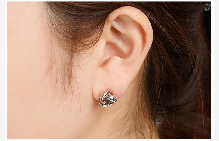 Silverage Real 925 Sterling Silver Stud Brincos Fine Jewelry For Women Love Knot Rose Banhado A Ouro 2016 Novo Dom 11.11