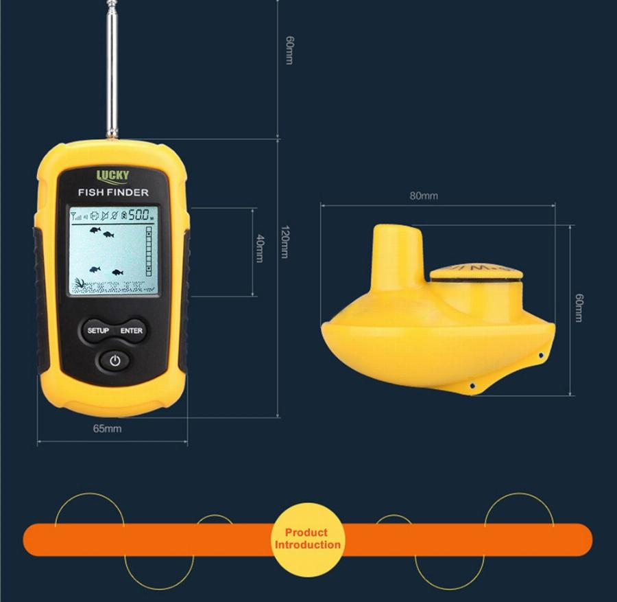 Sorte Ffw1108-1 Portátil 120 M Wireless Fish Finder Alarme 40 M/130Ft Oceano Mais Profundo Do Rio Para A Pesca De Profundidade Do Sonar A Partir Do Gelo