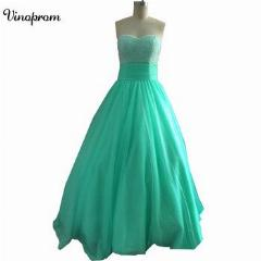 Baratos Tulle Puffy 2019 Mint Verde Frisada Lace Up Bola Vestidos Ruffled Custom Made Prom Dresses Quinceanera
