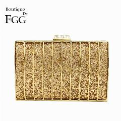 a70d32884 Boutique De Fgg Dazzling Glitter Dourado De Metal Hard Case Evening Mulheres  Bolsa Clutch Bag Wedding Party Nupcial Bolsa De Ombro