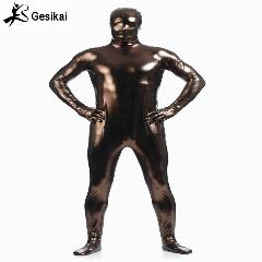 Brilhante Metálico Zentai Suit Unitard Todo Céu Coffe Full Body Suit Justas Adulto Unisex Catsuit Fancy Dress Halloween Party Costumes
