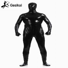 Brilhante Metálico Zentai Suit Unitard Todo Preto Full Body Suit Justas Adulto Unisex Catsuit Fancy Dress Halloween Party Costumes