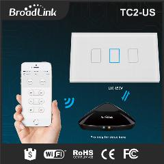 Broadlink Tc2 3 Gang 1 Way Eua/au Tipo, Smart Home Domotica Controle Remoto Wi-Fi Via Rm Pro, Rf433 Parede Light Touch Interruptor On/off