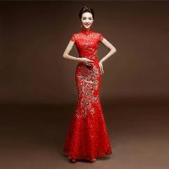 China Tradição Phoenix Bordados Red Lace Lantejoula Cheongsam Vestidos Elegante Bonito Formal Dinner Party Longo Rabo De Peixe Personalizado