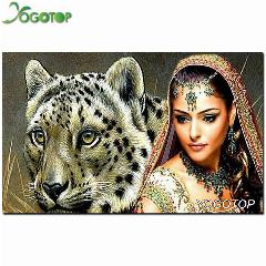 Novo 100% Completa Diamante Bordado Needlework Diy Diamante Kit Pintura Diamante Plantas Cruz Ponto De Bordado Beleza Tigre Nw327