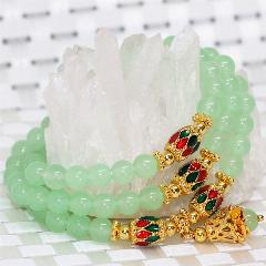 Original Design Gold-Color Spacer Fashion Multilayer Bracelets Natural Light Green Jade Chalcedony 6Mm Round Beads Jewelryb2237